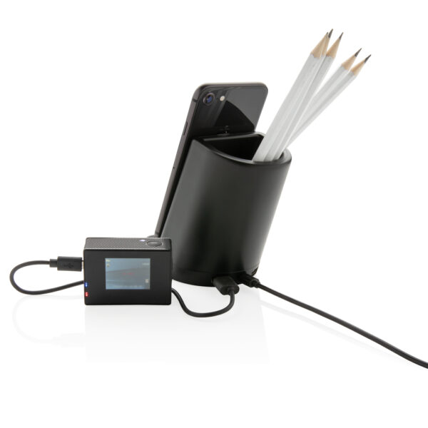 Light up logo pen houder met 5W draadloze oplader
