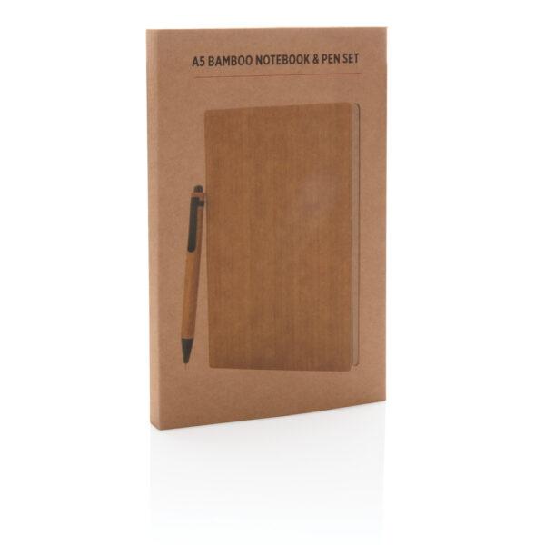 A5 Bamboe notitieboek & pen set