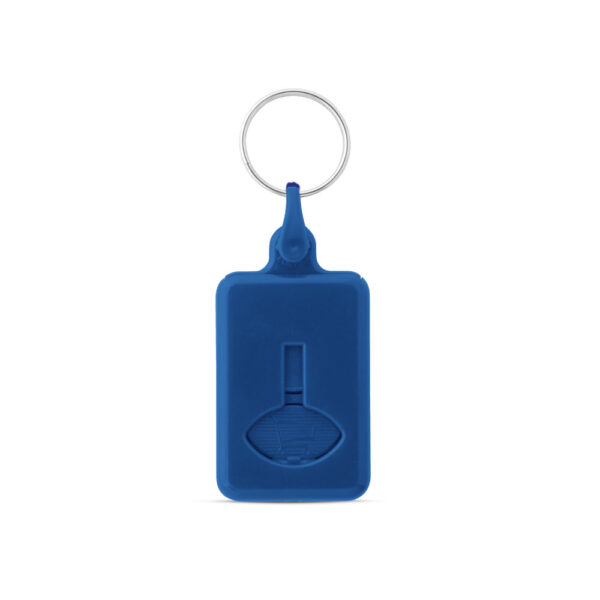 Sleutelhanger winkelwagenmunt 50 cent blauw