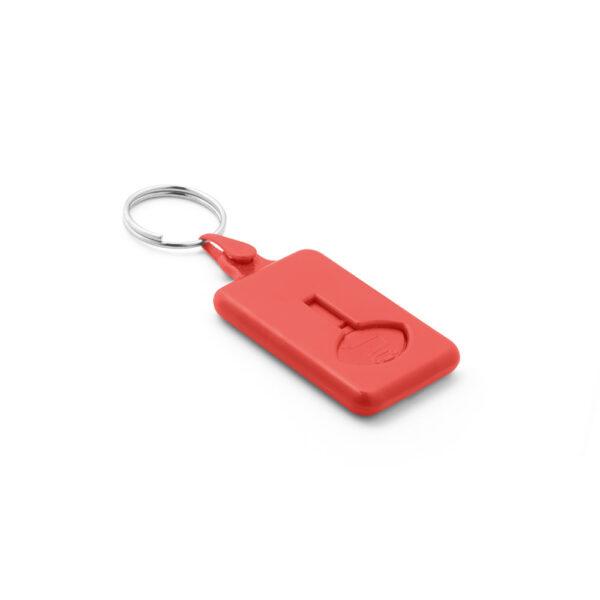 Sleutelhanger winkelwagenmunt 50 cent rood